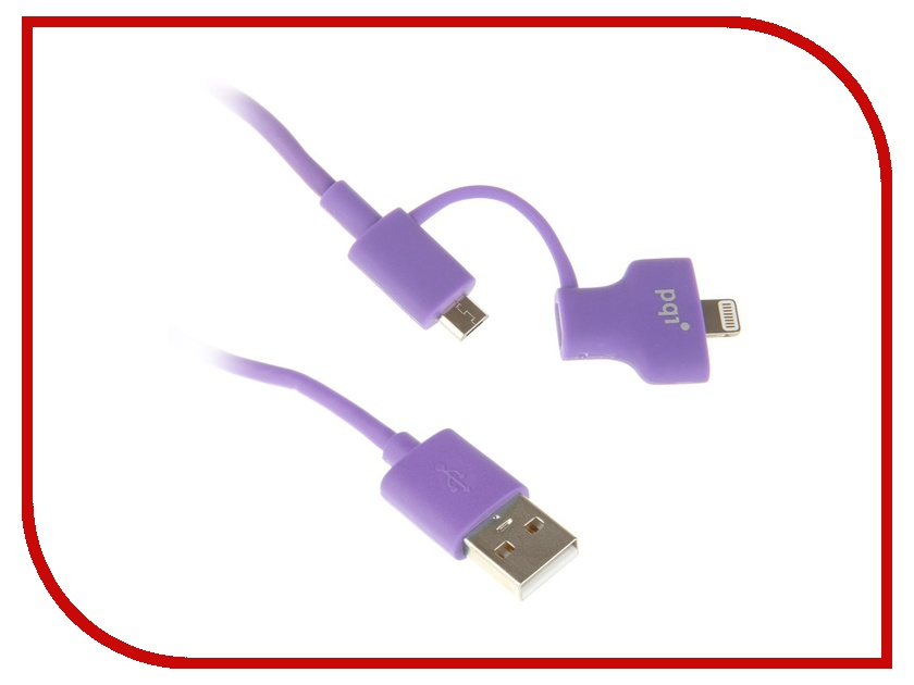 Аксессуар PQI USB to Lightning/MicroUSB 90cm для iPhone/iPad/iPod Purple PQI-iCABLE-DuPlug90-PP<br>