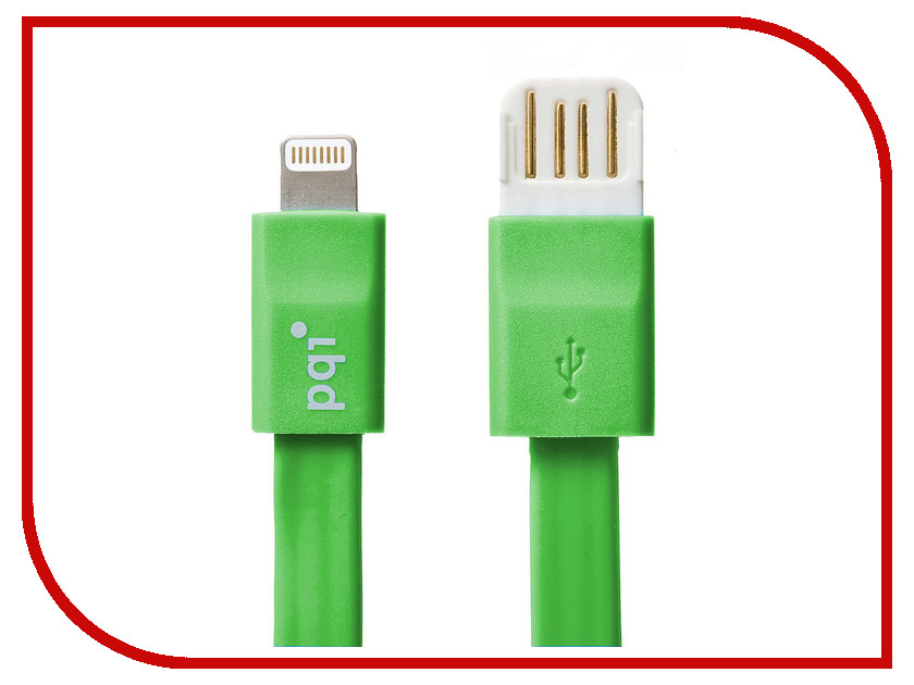 Аксессуар PQI USB to Lightning 20cm для iPhone/iPad/iPod Green PQI-iCABLE-FLAT20-GN<br>