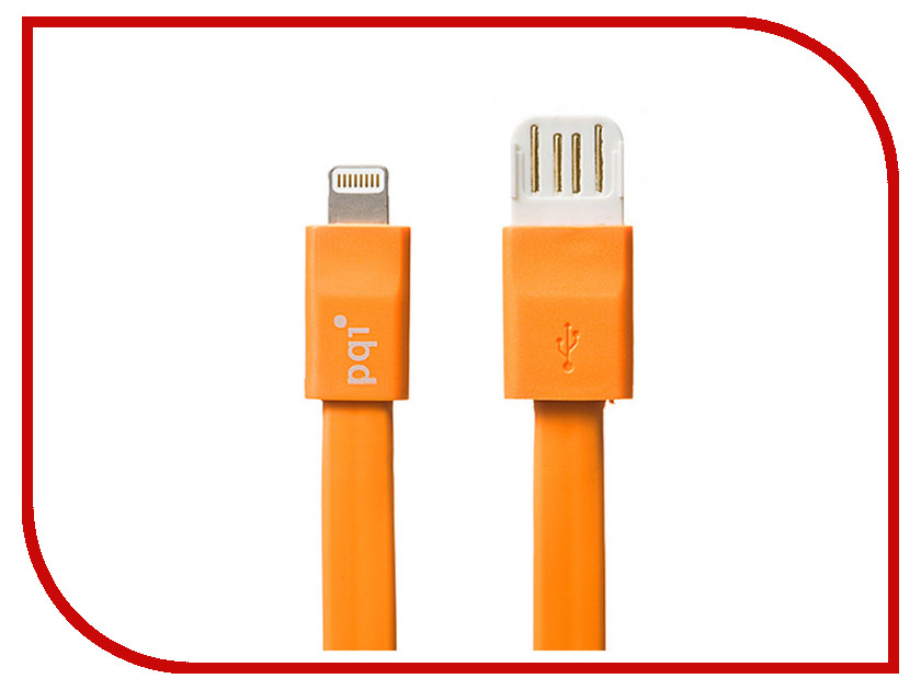 Аксессуар PQI USB to Lightning 20cm для iPhone/iPad/iPod Orange PQI-iCABLE-FLAT20-OR<br>