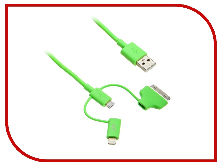 Аксессуар PQI Multi Plug USB to Lightning/MicroUSB/30 pin M 90cm for iPhone/iPad/iPod Green PQI-iCABLE-MULTIPLUG-GN аксессуар x flash microusb lightning 30p xf cubb109 45655