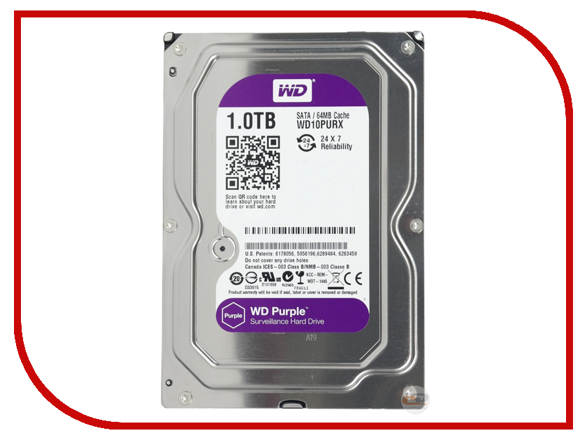 Жесткий диск 1Tb - Western Digital WD Purple WD10PURX<br>