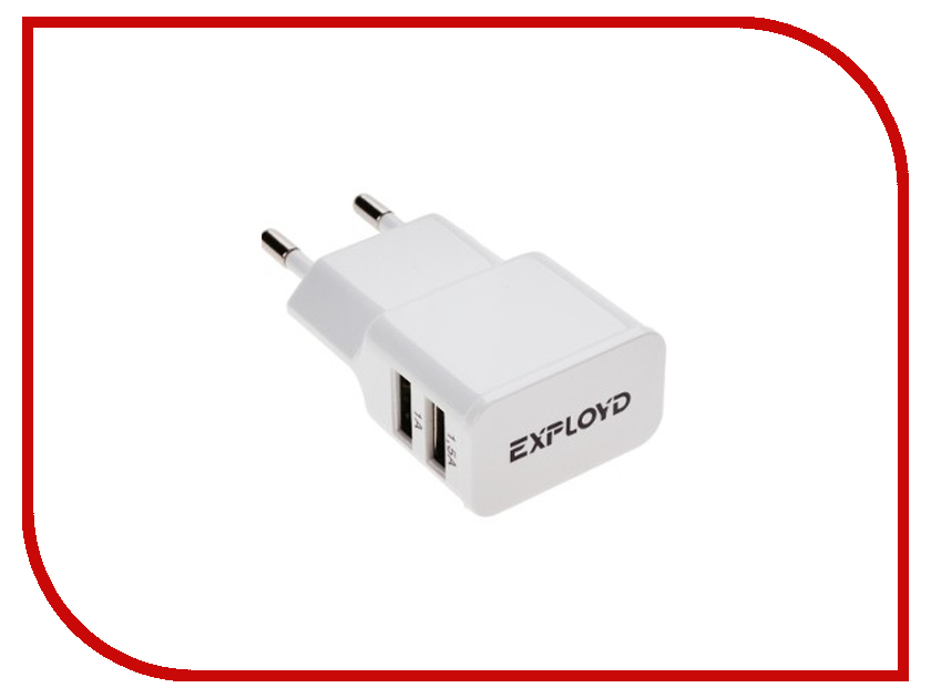 Зарядное устройство Exployd 2xUSB 2.5A / 1.5А + 1А White EX-Z-00010