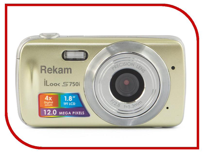 Фотоаппарат Rekam iLook S755i Champagne цифровая фотокамера rekam ilook s755i серый 1108005122