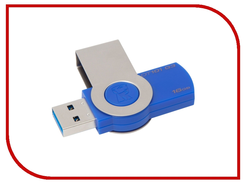 USB Flash Drive 16Gb - Kingston DataTraveler 101 G3 USB 3.0 Blue DT101G3/16Gb