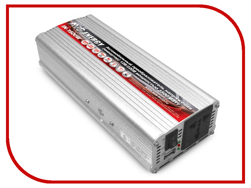 Автоинвертор AVS IN-1500W преобразователь с 12В на 220В 43744 автоинвертор avs in 2210 220в на 12в a80980s