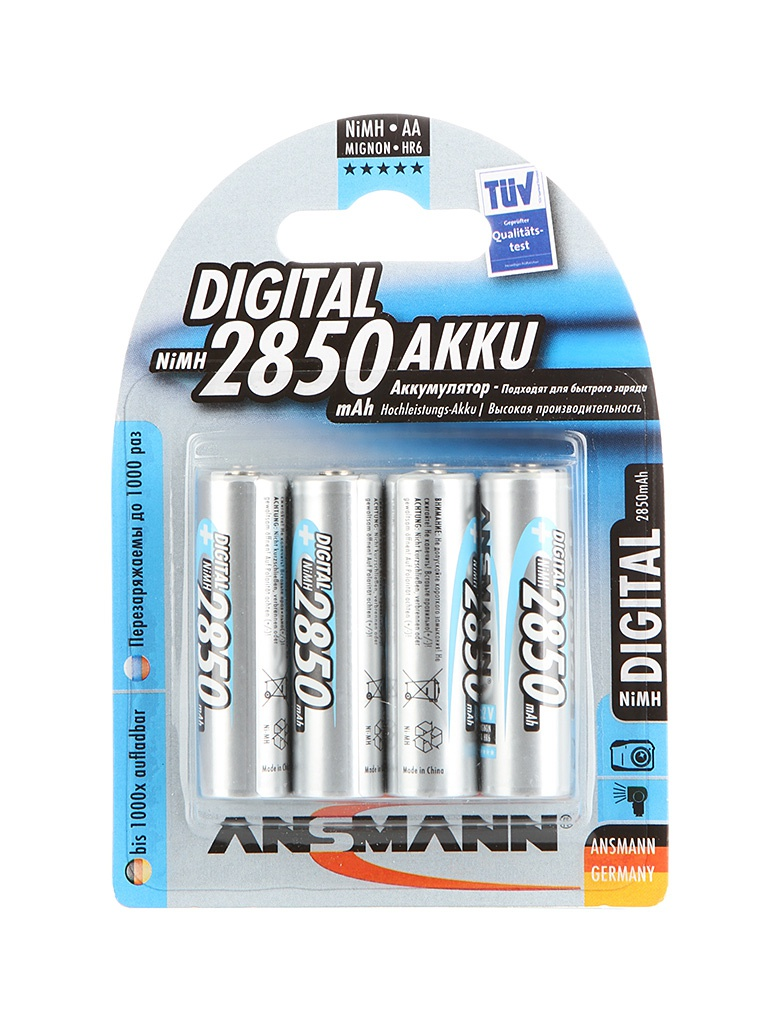 Аккумулятор AA - Ansmann R06 2850 mAh Ni-MH Digital (4 штуки) 5035212 tangsfire bt c2000 12v 1a 4 slot ni mh ni cd aa aaa battery power charger black