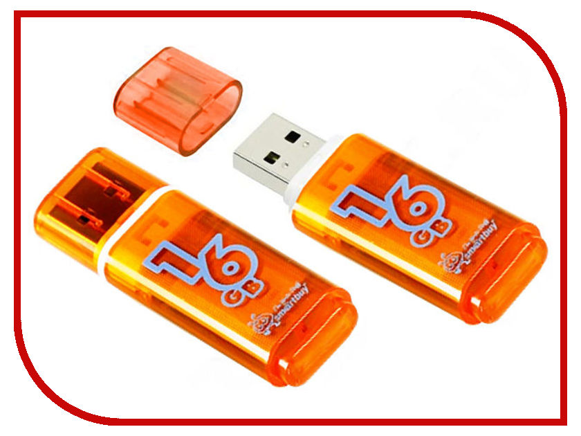 USB Flash Drive 16Gb - SmartBuy Glossy Orange SB16GBGS-Or