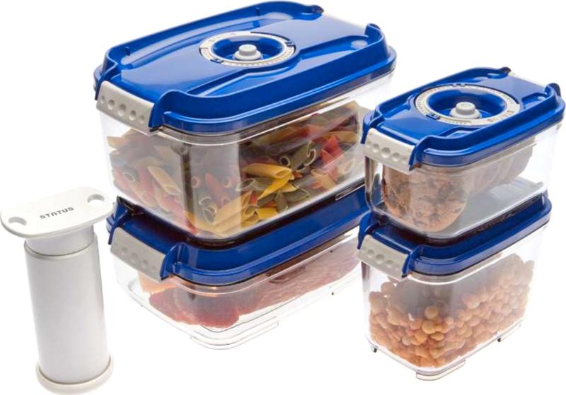 Набор вакуумных контейнеров и насос Wonder Life Blue WL-ST-S4-P-Blu