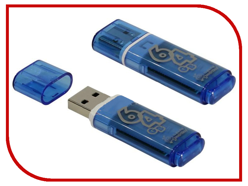 USB Flash Drive 64Gb - SmartBuy Glossy Series Blue SB64GBGS-B usb flash drive 8gb smartbuy glossy black sb8gbgs k