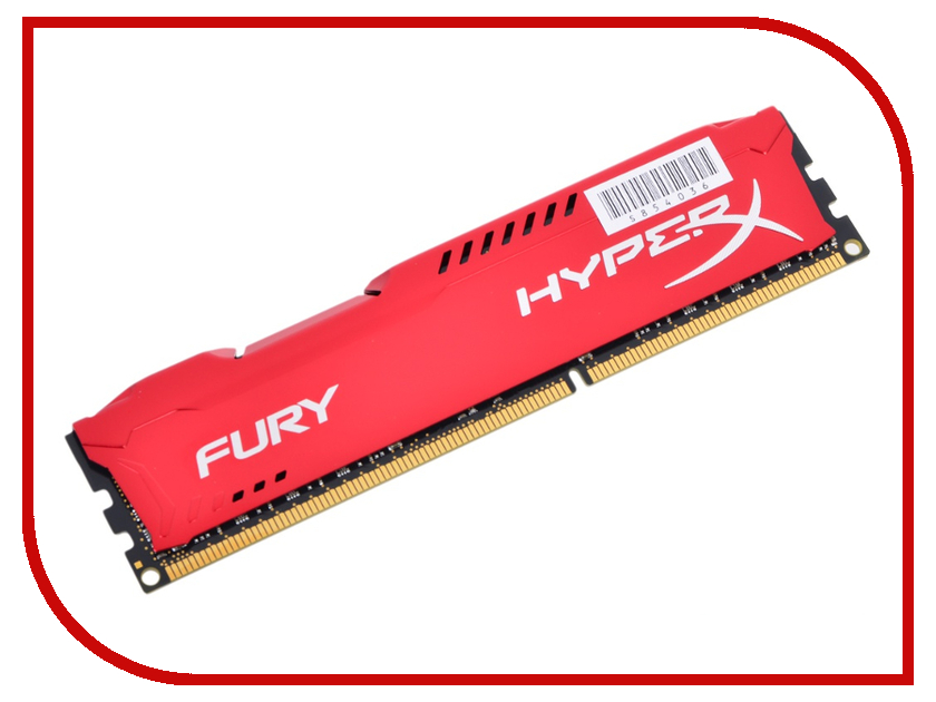 Модуль памяти Kingston HyperX Fury Red DDR3 DIMM 1600MHz PC3-12800 - 8Gb HX316C10FR/8 kingston hxf30 hyperx fury digital usb 3 0 flash drive blue black 32gb