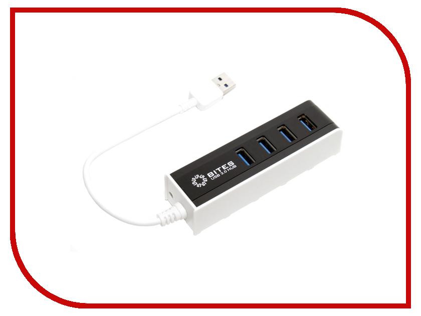 Хаб USB 5bites HB34-306BK USB3.0 4 ports Black-White<br>