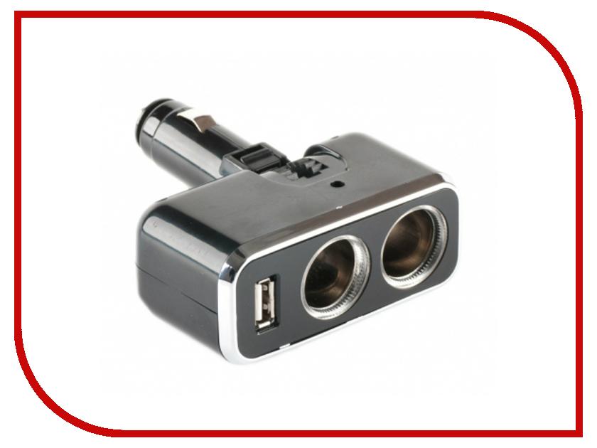 Аксессуар Разветвитель прикуривателя на 2 гнезда и 1 USB Shunwei SD-1909<br>