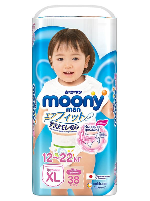 Подгузники Moony Unicharm Big 12-17кг 38шт для девочек 4903111183760
