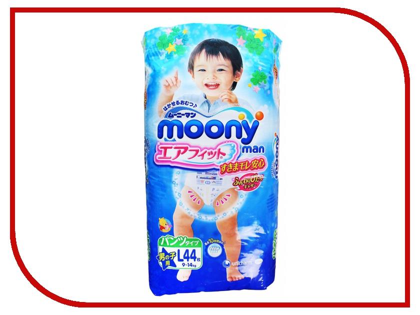 Подгузники Moony Unicharm L 9-14кг 44шт для мальчиков 4903111183418 / 4903111184330 moony трусики ночные для мальчиков 13 25 кг в барнауле