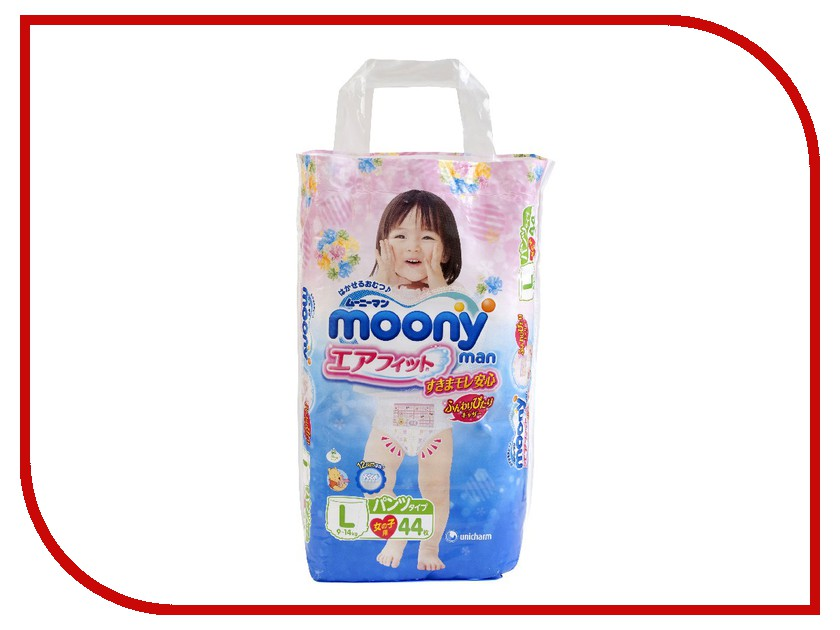 Подгузники Moony Unicharm L 9-14кг 44шт для девочек 4903111183500<br>
