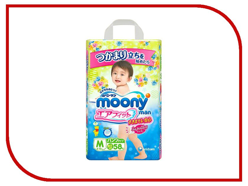 Подгузники Moony Unicharm M 6-10кг 58шт 4903111183258