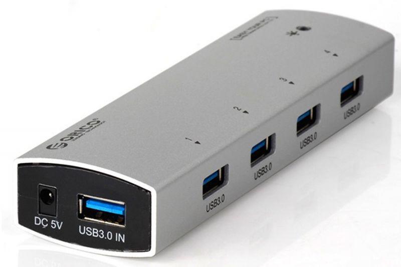 Хаб USB Orico AS4P-U3P-SV 4-Ports Silver<br>