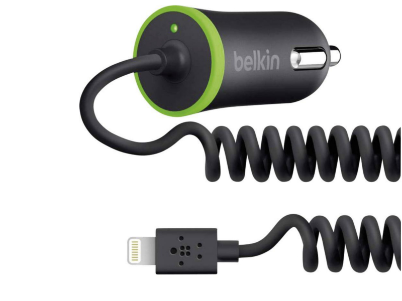 Зарядное устройство Belkin Coil Mini Car Chrger Black-Green F8J074BTBLK