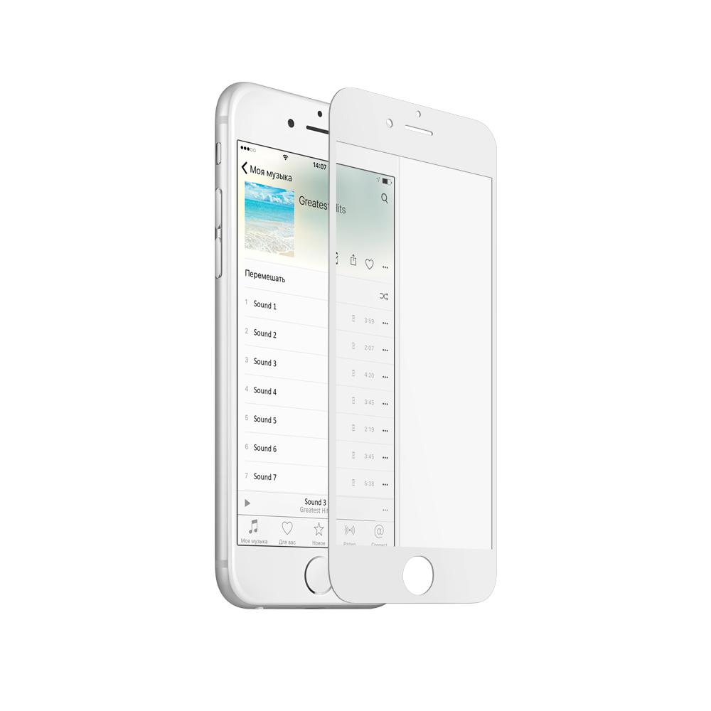 Аксессуар Закаленное стекло DF для iPhone 6 White iColor-03