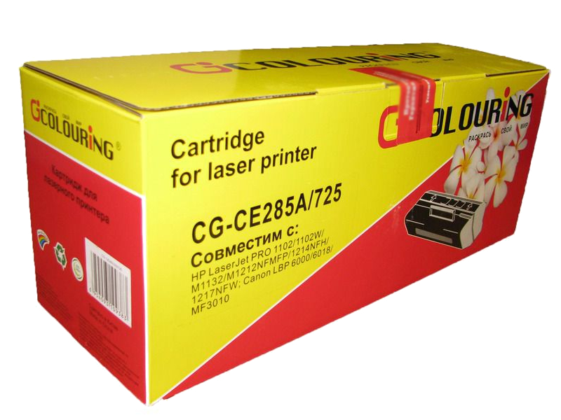 Картридж Colouring CG-CE285A/725 для HP LJ 91042Pro P1100/P1102/P1102W/M1130/M1132/1210/M1212nf/M1212nfw/M1217 MFP/Canon LBP6018/6000 1600 копий картридж cactus cs ce285as для hp lj p1102 p1102w m1130 m1132 black