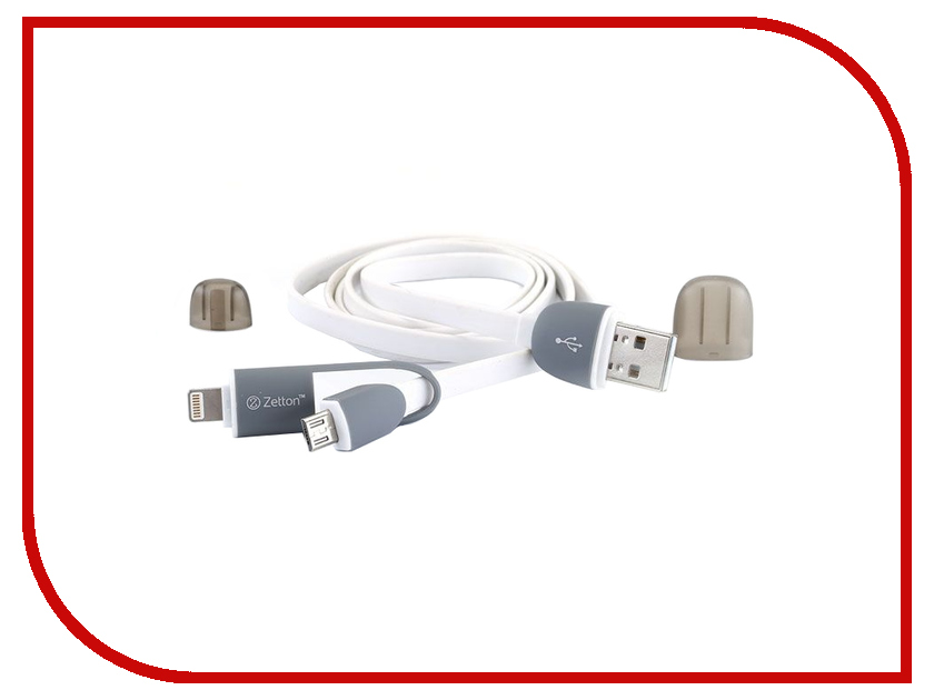 Аксессуар Zetton 8 pin to Micro USB White 2 в 1 ZTLSUSB2IN1BW<br>