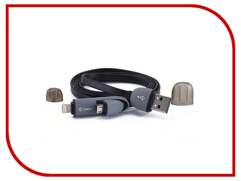 Аксессуар Zetton 8 pin to Micro USB Black 2 в 1 ZTLSUSB2IN1FB<br>
