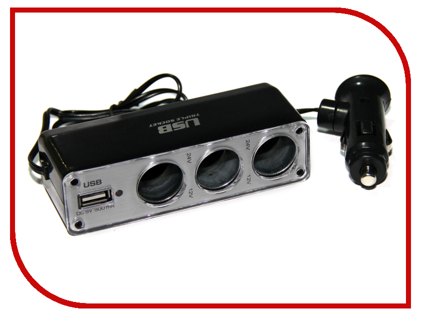 Разветвитель Разветвитель прикуривателя на 3 гнезда и 1 USB выход Activcar ACT-WF-0096 Black 5102 wf 0096 тройник для автомобиля