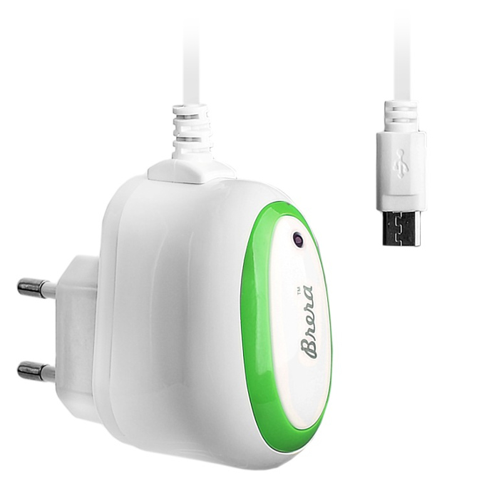 Зарядное устройство Brera Classic MicroUSB 1A White-Green 47221