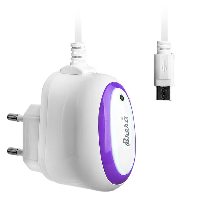 Зарядное устройство Brera Classic MicroUSB 1A White-Purple 47222
