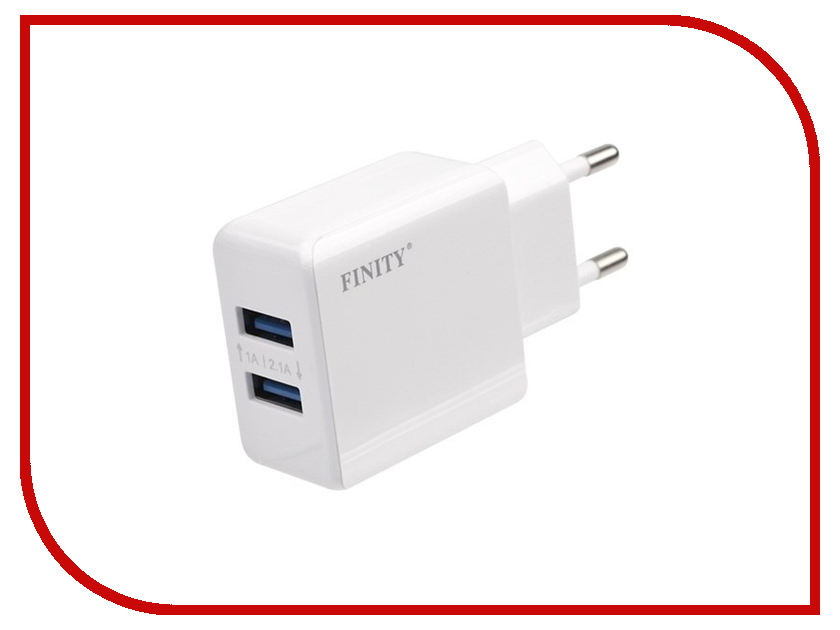 Зарядное устройство Finity 2xUSB 2.1A/1A FT-01 White<br>