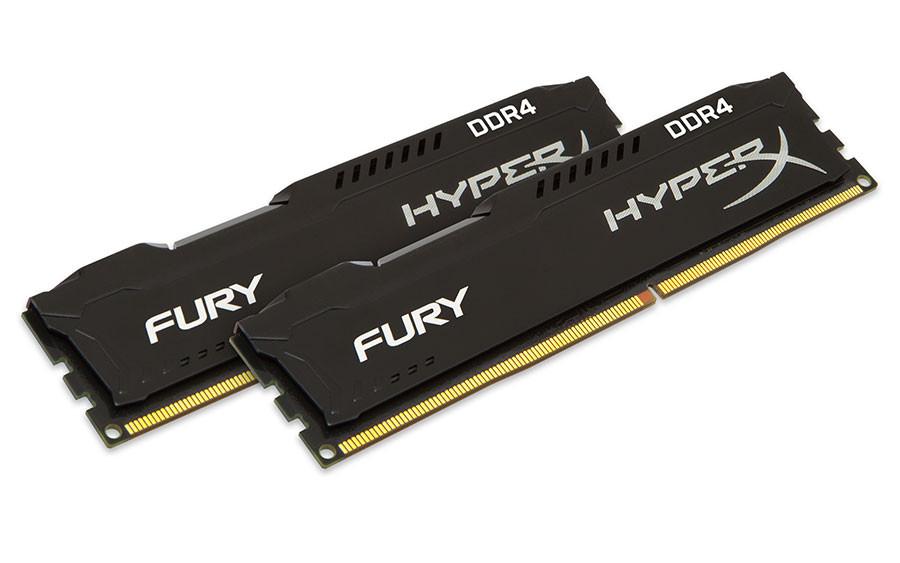 Модуль памяти Kingston HyperX Fury Black PC4-19200 DIMM DDR4 2400MHz CL15 - 8Gb KIT (2x4Gb) HX424C15FBK2/8 цена и фото