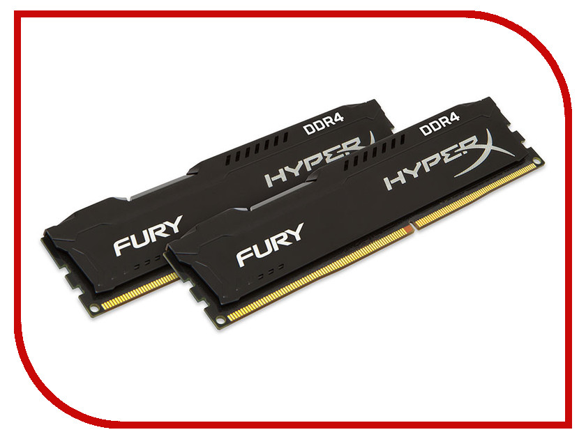Модуль памяти Kingston HyperX Fury DDR4 DIMM 2666MHz PC4-21300 CL15 - 8Gb KIT (2x4Gb) HX426C15FBK2/8 ddr4 8gb kingston hyperx fury black