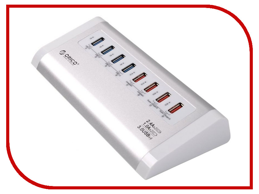 Хаб USB Orico UH4C4-SV 8-Ports Silver orico a3h13p2