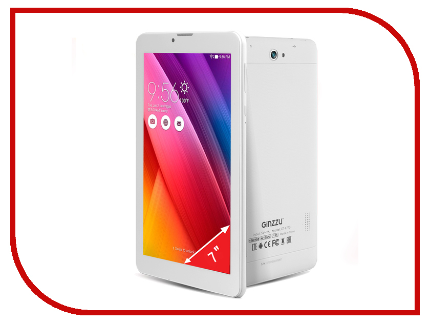 Планшет Ginzzu GT-X770 White MTK8735M 1.0 GHz/1024Mb/8Gb/GPS/LTE/Wi-Fi/Bluetooth/Cam/7.0/1024x600/Android