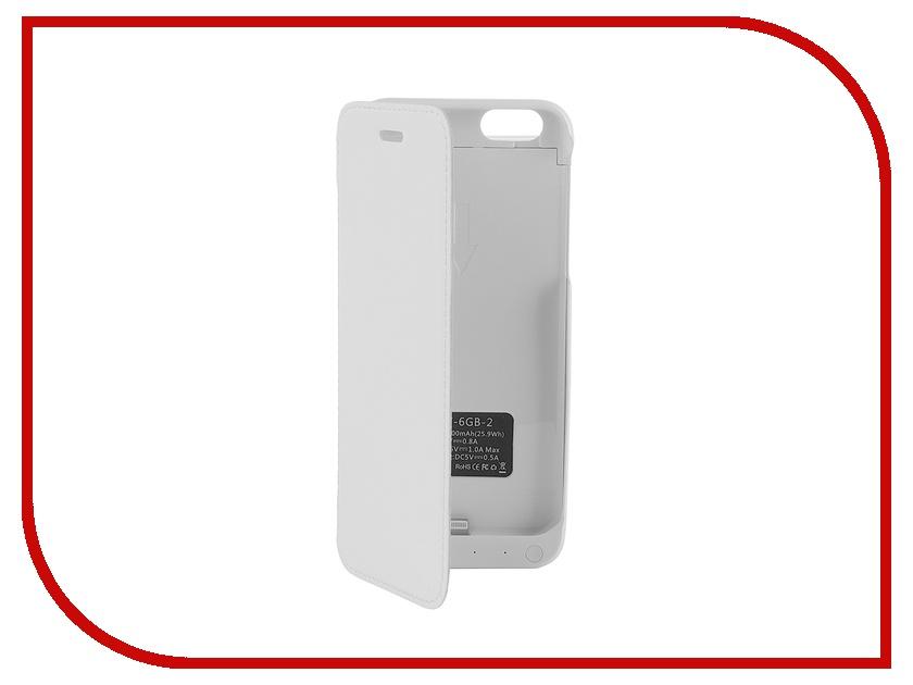 Аксессуар Чехол-аккумулятор Aksberry 6GB-2 7000 mAh для iPhone 6 White<br>