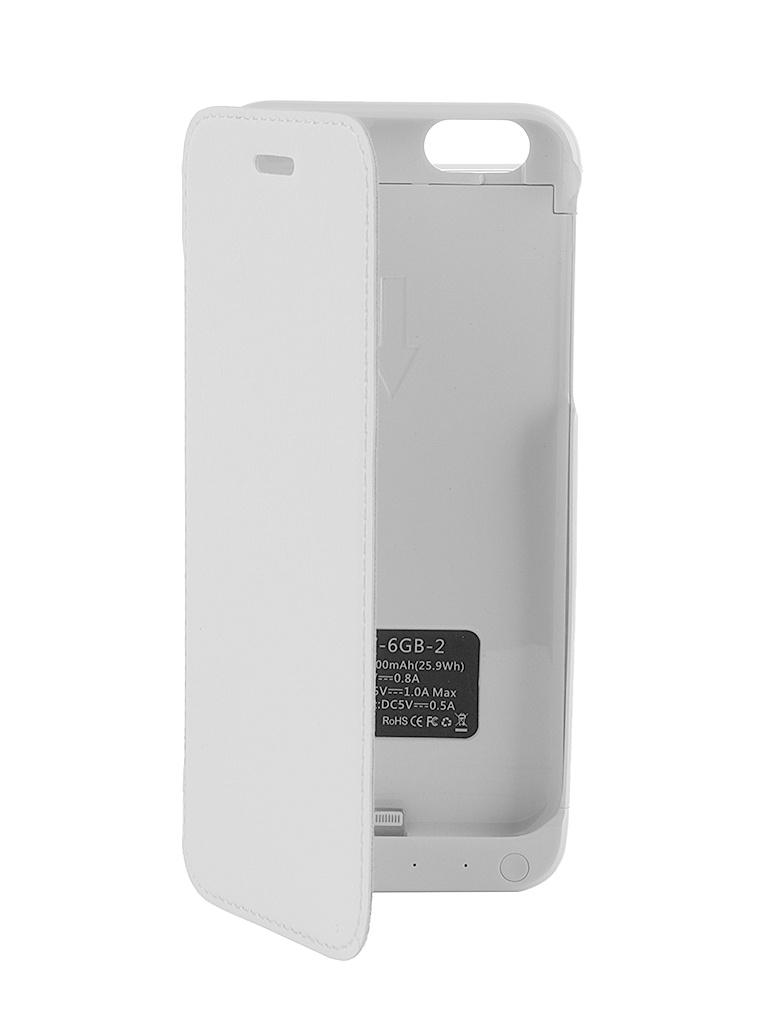 Аксессуар Чехол-аккумулятор Aksberry 6GB-2 7000 mAh для iPhone 6 White