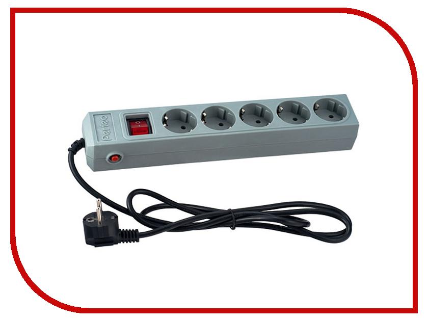 Сетевой фильтр Perfeo 5 Sockets 1m Grey PF-SP-5/1.0-G