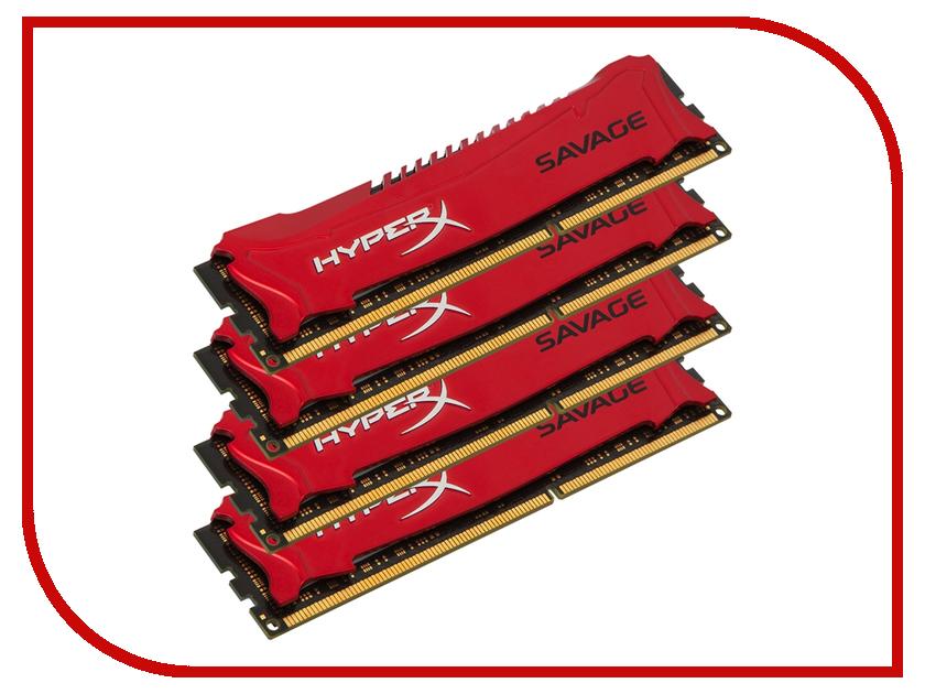 Модуль памяти Kingston HyperX Savage DDR3 DIMM 2400MHz PC3-19200 CL11 - 32Gb KIT (4x8Gb) HX324C11SRK4/32 kvr16lse11 4 kingston