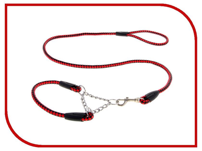 Комплект амуниции СИМА-ЛЕНД Комплект плетеный удавка и поводок Red-Black 1028350