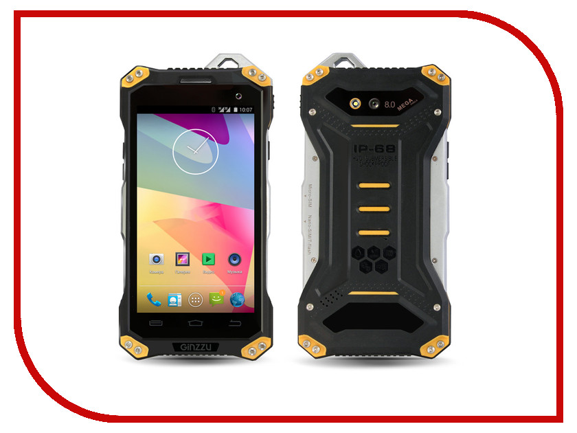 Сотовый телефон Ginzzu RS94 Dual Black-Yellow сотовый телефон ginzzu r4 dual white