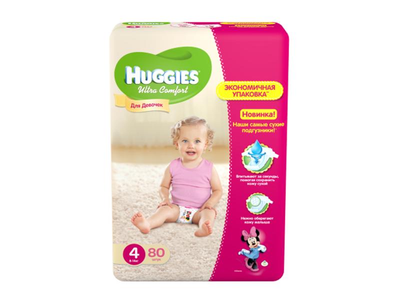 Подгузники Huggies Ultra Comfort 4 8-14кг 66шт для девочек 9402436<br>