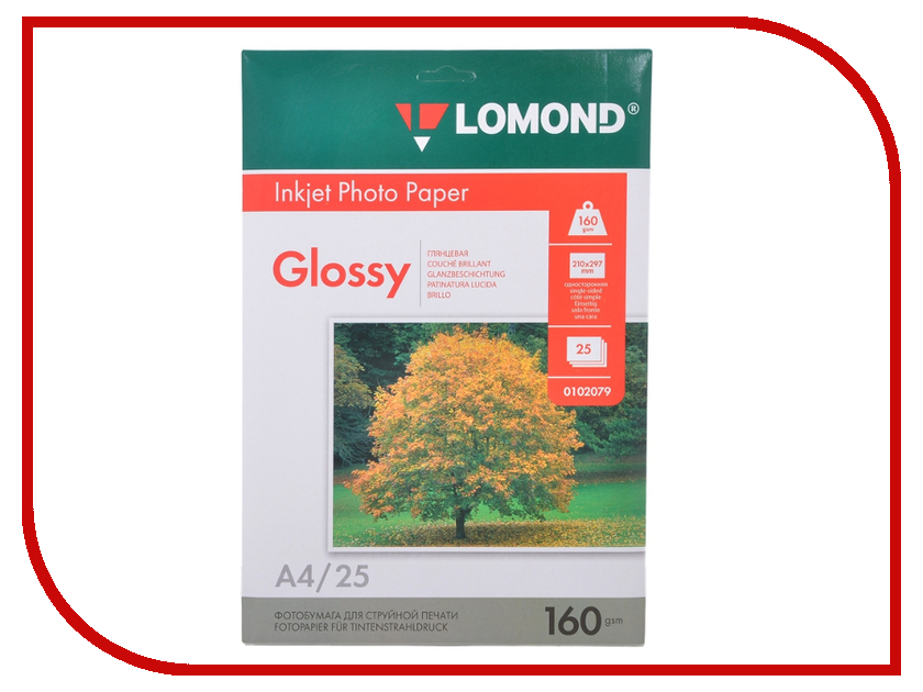 Фотобумага Lomond 0102079 глянцевая 160g/m2 А4 односторонняя 25 листов фотобумага lomond 0102066 глянцевая 140g m2 a3 односторонняя 50 листов