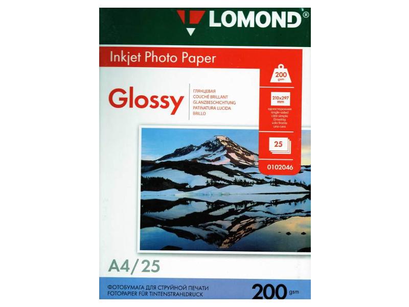 Фотобумага Lomond А4 200g/m2 глянцевая односторонняя 25 листов 102046