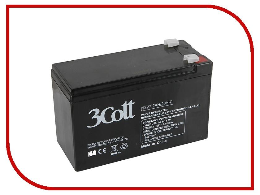 Аккумулятор для ИБП 3Cott 12V 7.2Ah аккумулятор для ибп apc 106 apcrbc106