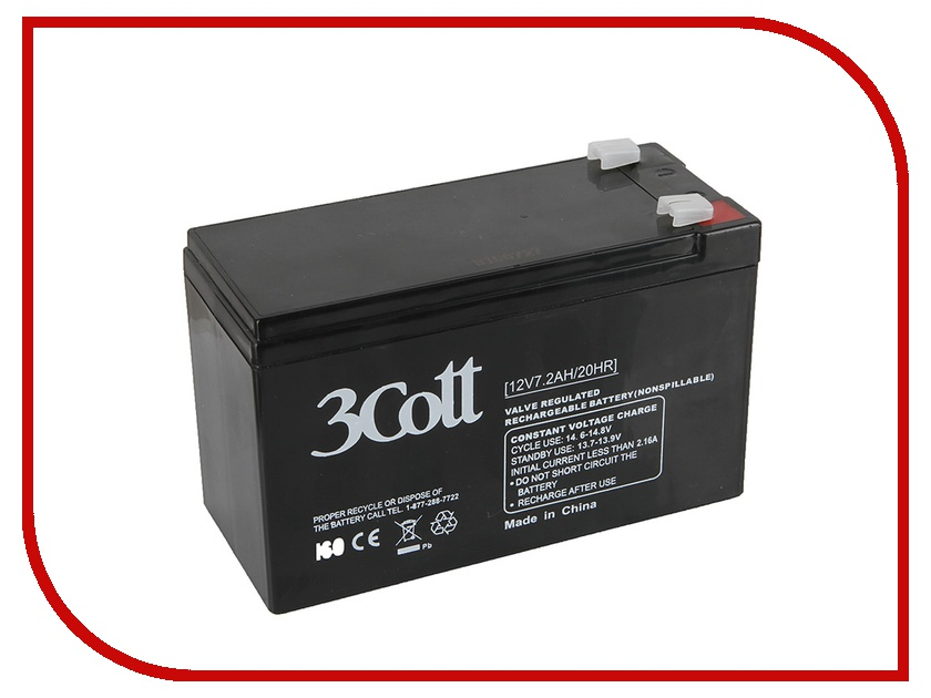 Аккумулятор для ИБП 3Cott 12V 7.2Ah