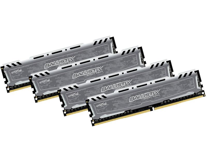 Модуль памяти Crucial Ballistix Sport DDR4 DIMM 2400MHz PC4-19200 CL16 - 16Gb KIT (4x4Gb) BLS4K4G4D240FSB