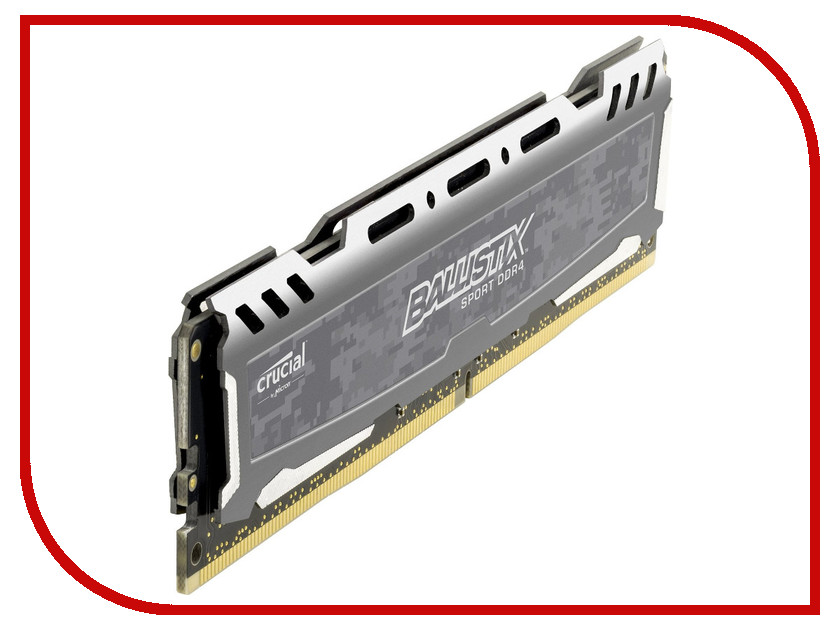 Модуль памяти Crucial Ballistix Sport DDR4 DIMM 2400MHz PC4-19200 CL16 - 8Gb BLS8G4D240FSB crucial ballistix sport lt ddr4 8gb 2666 мгц white модуль оперативной памяти bls8g4d26bfsck