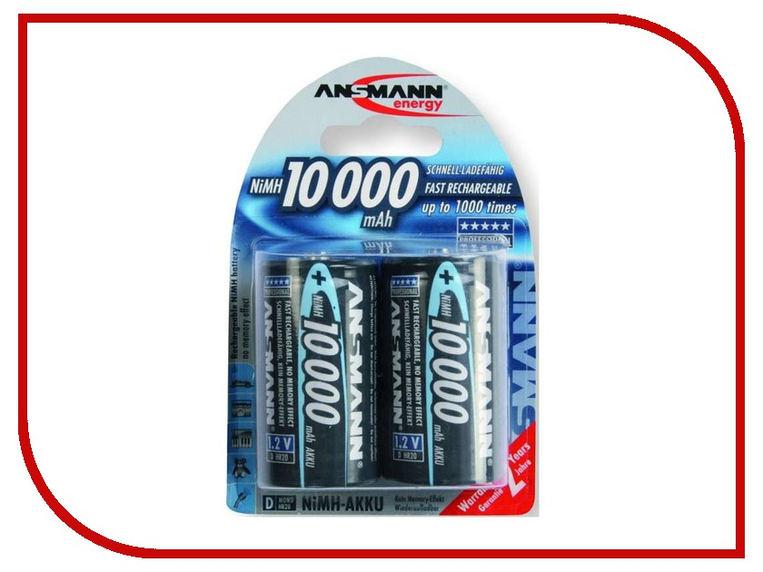 Аккумулятор D - Ansmann R20 10000 mAh Ni-MH бочка (2 шт) 5030642 аккумулятор d ansmann r20 10000 mah ni mh бочка 2 шт 5030642