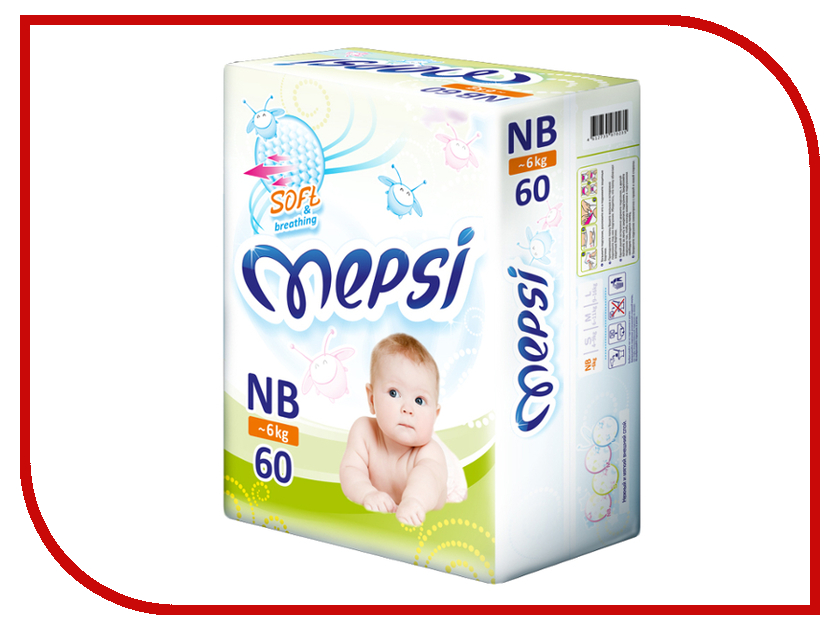 Подгузники Mepsi Premium NB 0-6кг 60шт