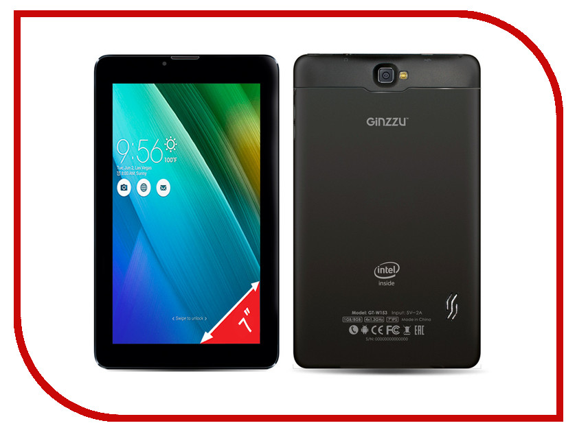 Планшет Ginzzu GT-W153 Black (Intel Atom x3-C3230RK 1.0 GHz/1024Mb/8Gb/Wi-Fi/3G/Bluetooth/Cam/7.0/1024x600/Android)